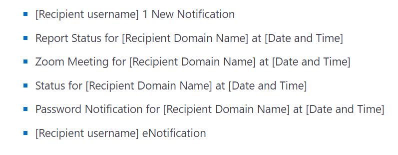 E-mail pattern open redirect phishing campaign