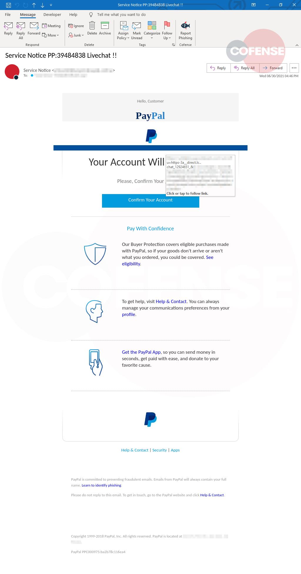 paypal phishing technique