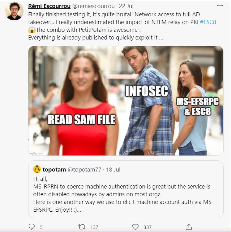 PetitPotam vulnerability researcher opinion Twitter post