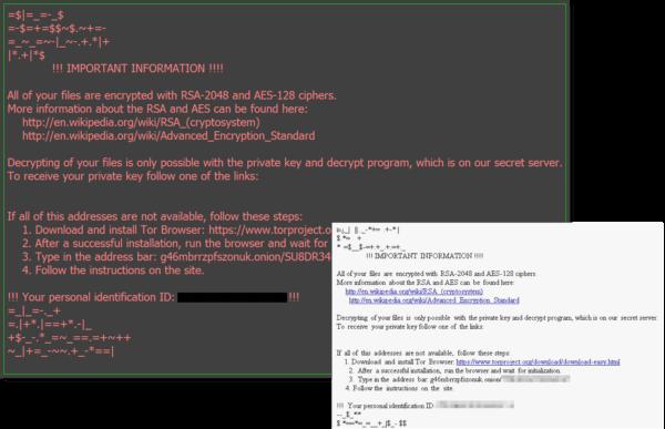locky ransomware text