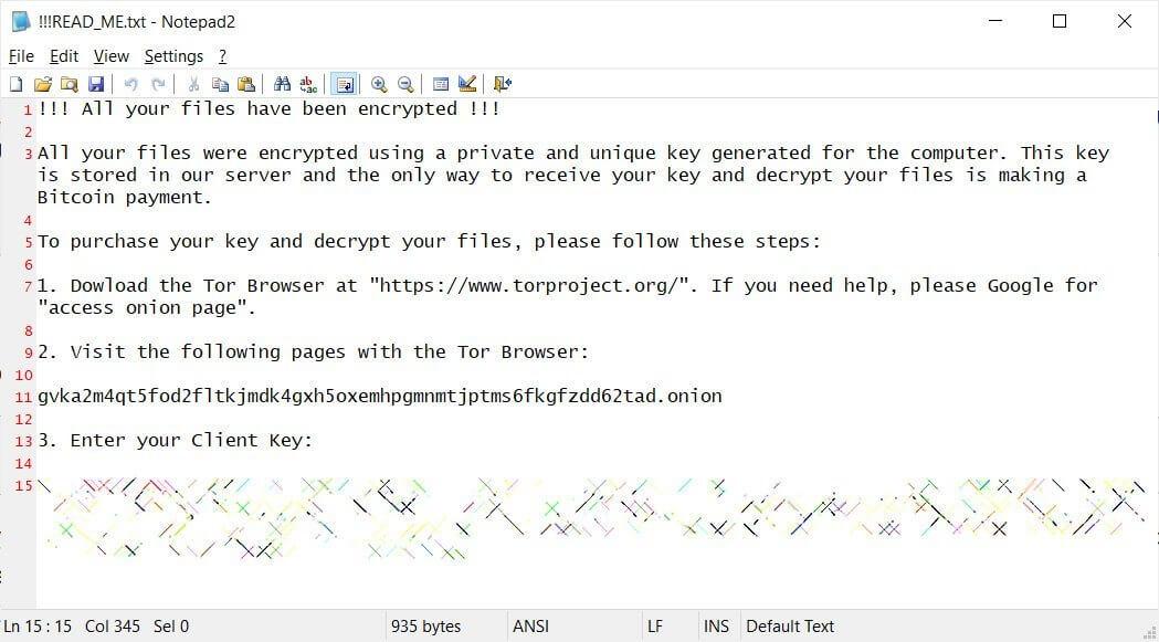 Qlocker ransom note