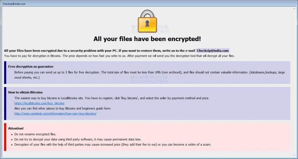 An example of a ransom note for brute-force attacks