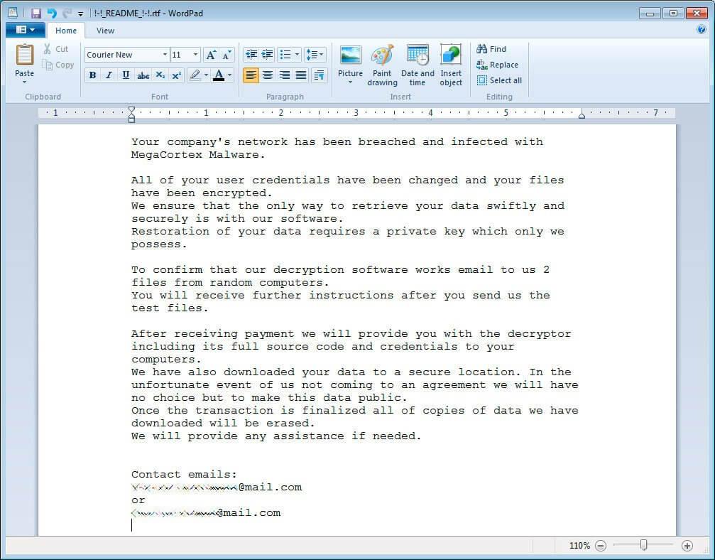 MegaCortex ransomware ransom note