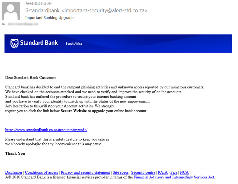 Standard Bank phishing example