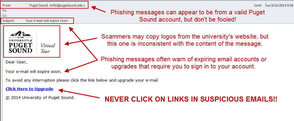 suspicious links in phishing email