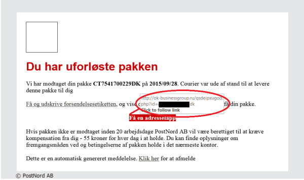 traffic diversion post office denmark scam