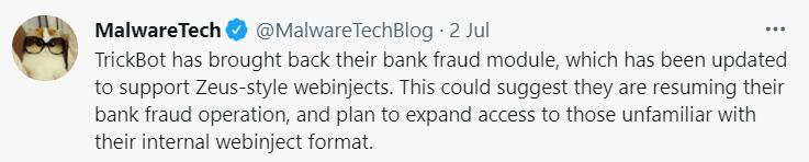 Trickbot Trojan Twitter Post