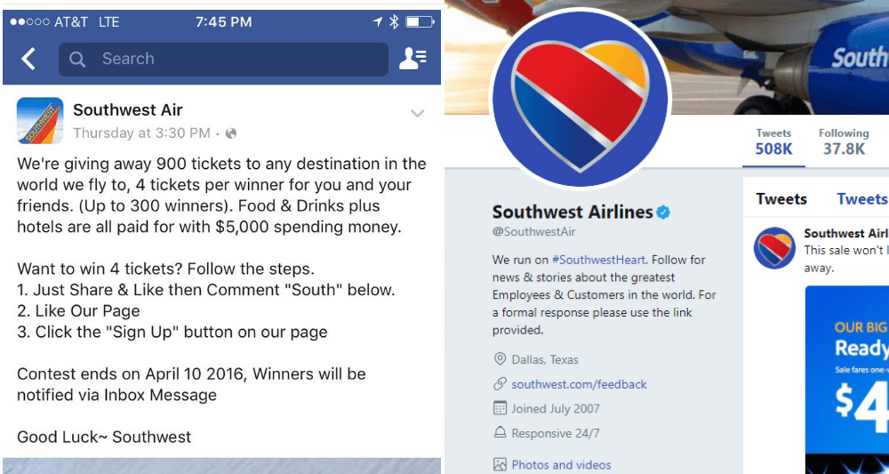 twitter free airline tickets scam
