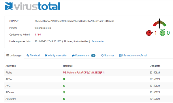virus total second attack detection rate