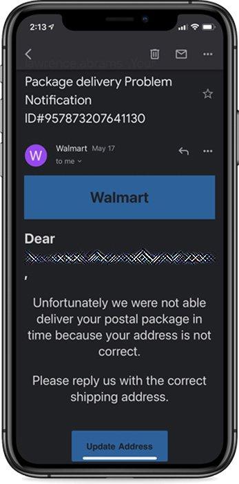 Walmart phishing email