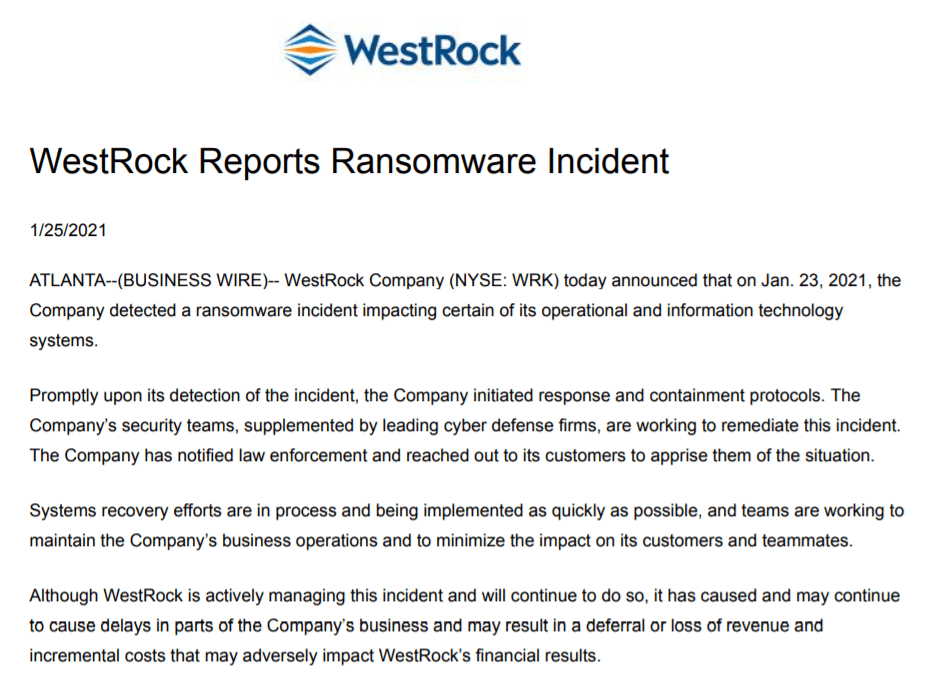 WestRock ransomware attack january press release