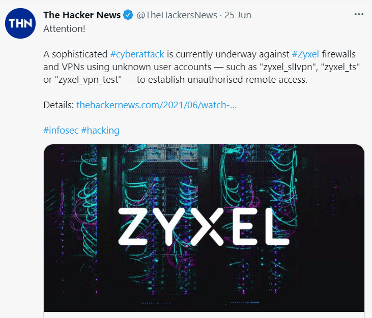 Zyxel firewalls and VPN post on latest news